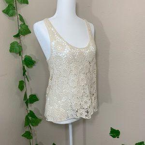 Iris Crochet Cream Floral Lace Knit Tank Top